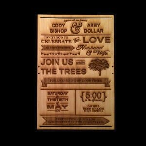 Wooden Engraved Invitation